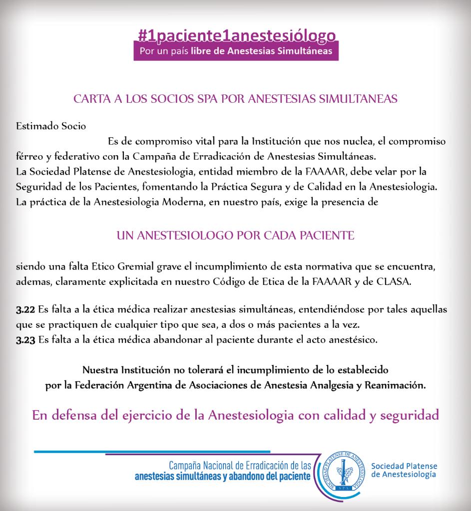 Carta a los socios SPA por Anestesias Simultáneas