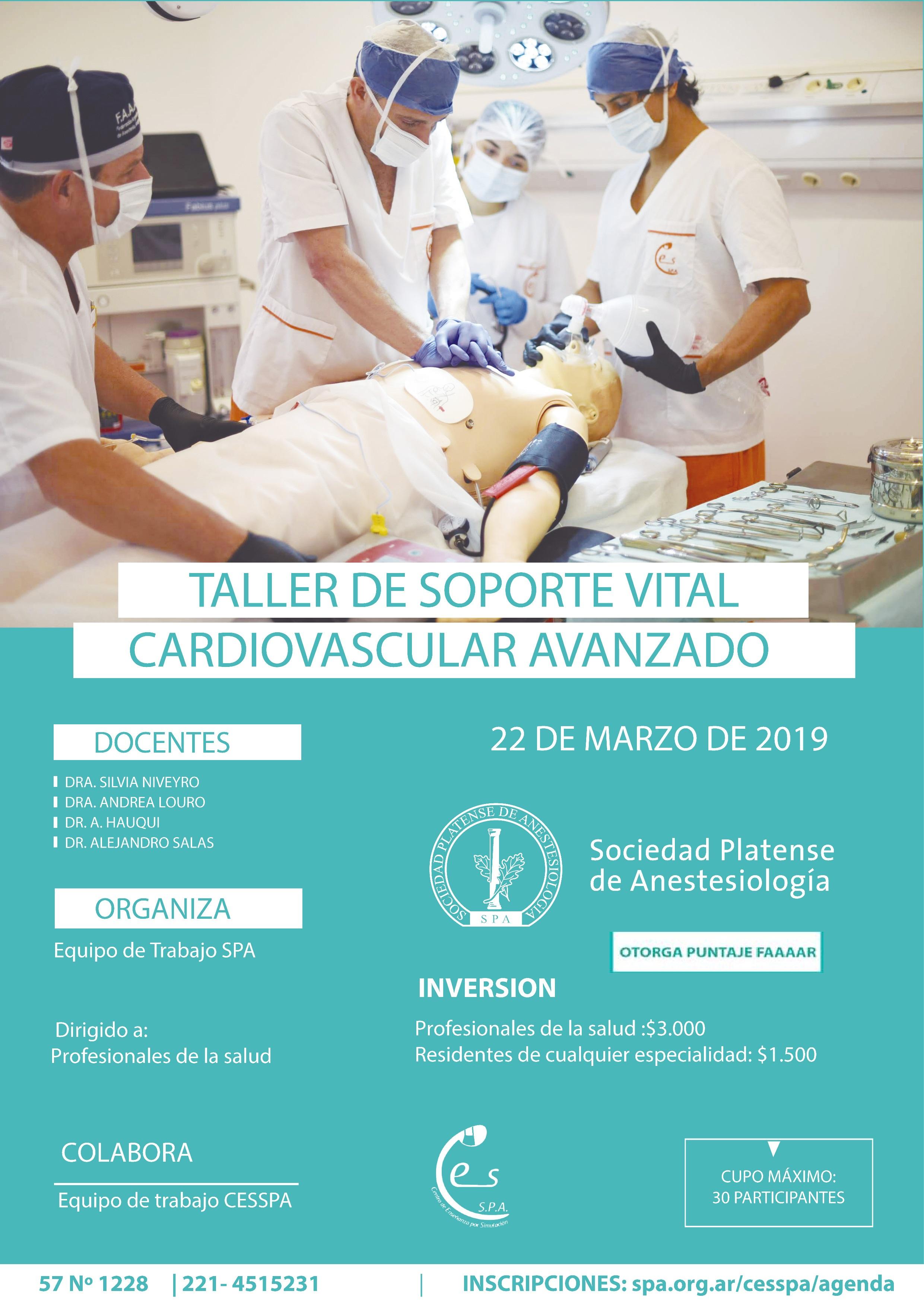 """22/3: """"Taller de Soporte Vital Cardiovascular Avanzado"""""""