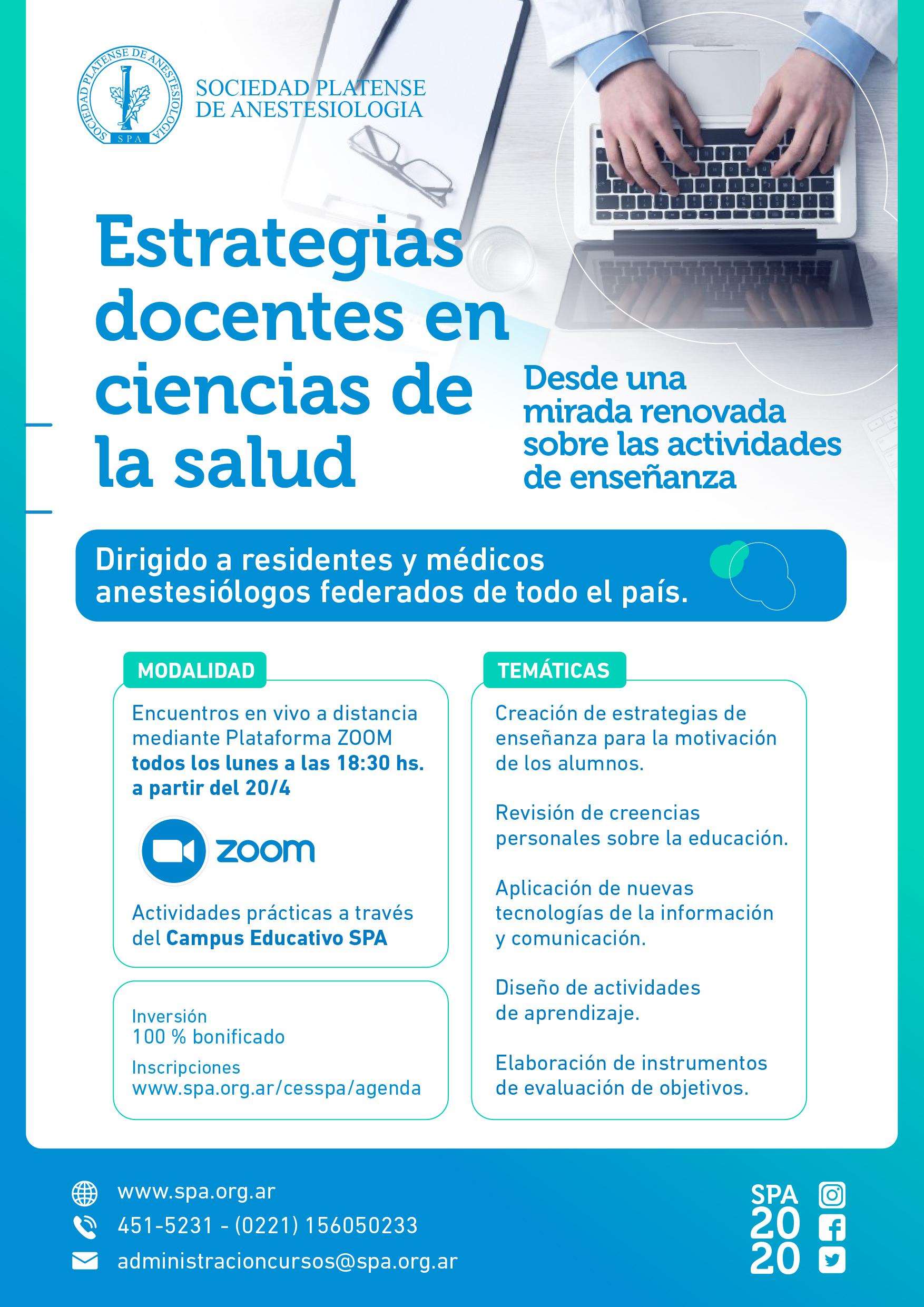 Nuevo curso de modalidad online: Estrategias docentes en Cs. de la Salud