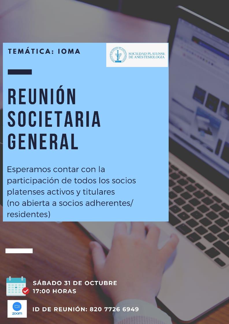 Reunión societaria general virtual: 31/10 a las 17:00 horas