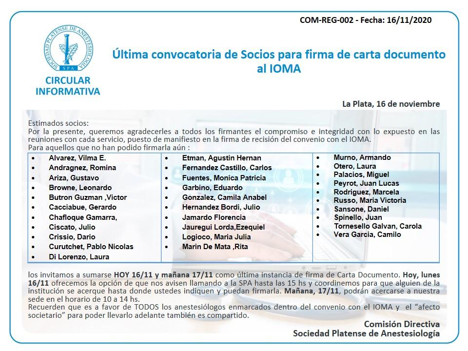 Última convocatoria de socios para la firma de CD al IOMA