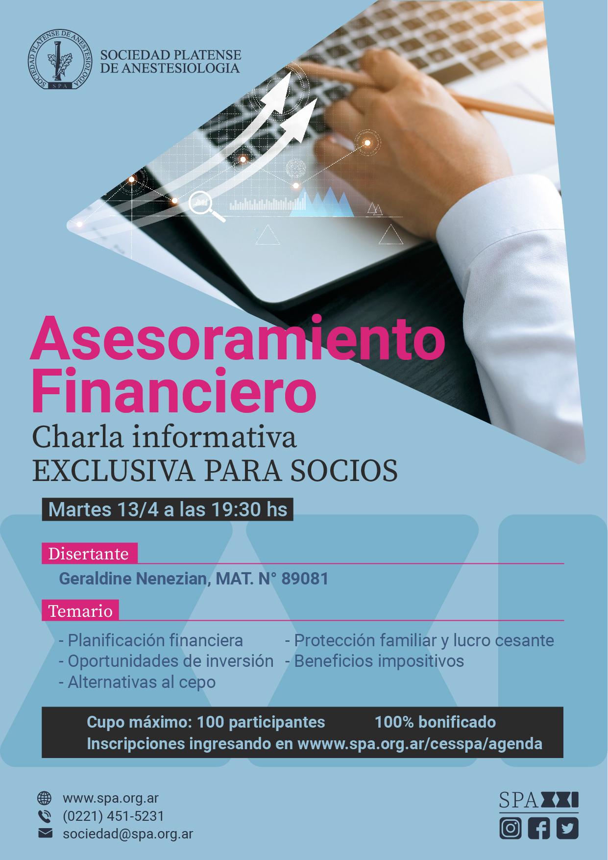 13/04: Charla sobre asesoramiento financiero