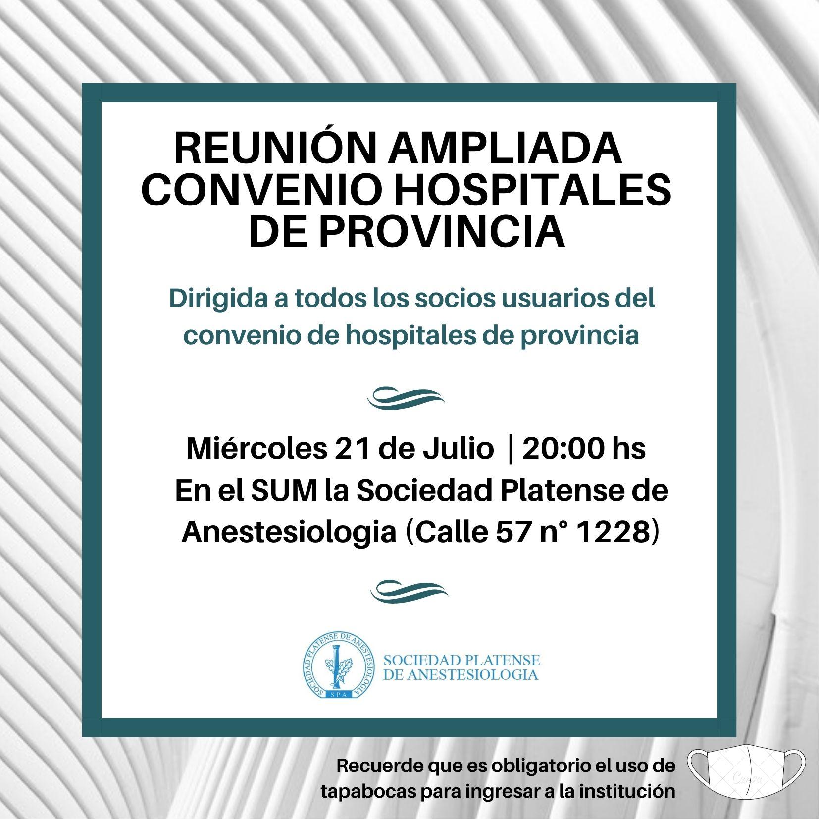 Reunión ampliada: Convenio de Hospitales de Provincia